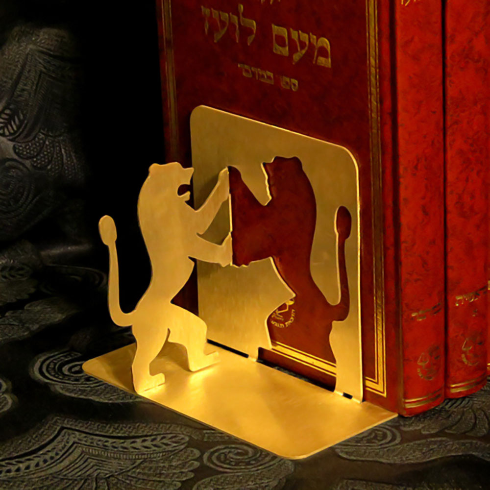 Jewish Art Bookend with Lion Yehuda