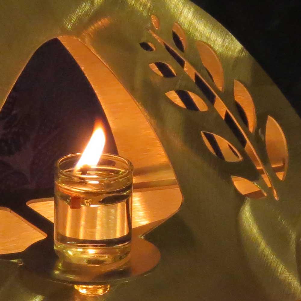 Judaica Chanukiah Pyramid Engraving of Myrtle Hadass Leaves