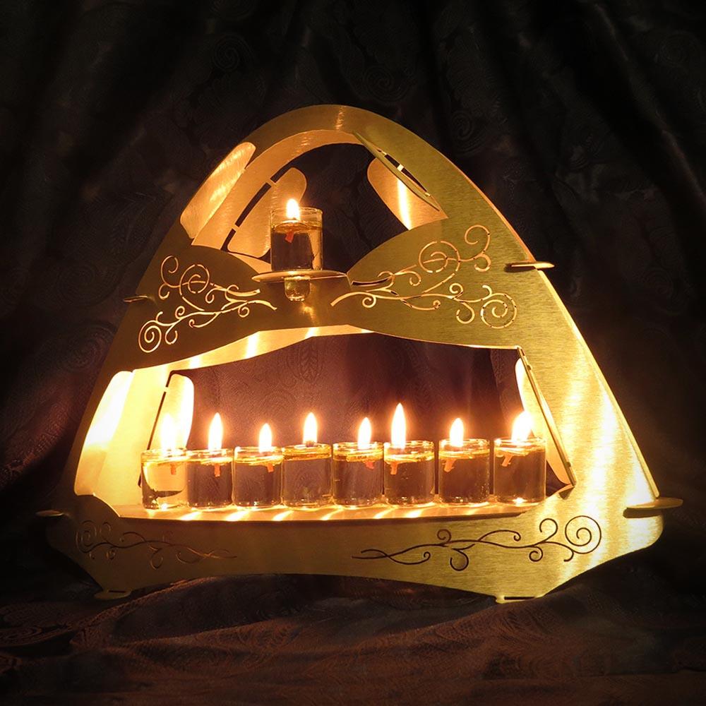 Judaica Chanukiah Pyramid with Flower Thin Decorations Engraving
